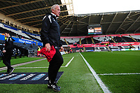 Alan Curtis, assistant coach for Swansea City during the pre-match warm-up for the Sky Bet Championship match between Swansea City and Derby County at the Liberty Stadium in Swansea, Wales, UK. Wednesday 01 May 2019