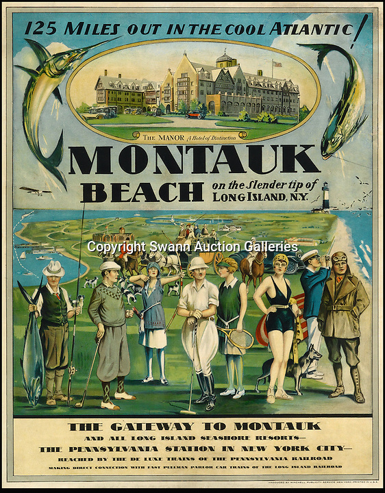 BNPS.co.uk (01202 558833)<br /> Pic: SwannGalleries/BNPS<br /> <br /> ***Please Use Full Byline***<br /> <br /> 1929 poster for Montauk beach near New York - &pound;15,000.<br /> <br /> Beautiful posters from the halcyon days of travel up for auction.<br /> <br /> Scarce vintage travel posters promoting holidays across the globe in the 1920's and 30's are tipped to sell for over &pound;200,000 .<br /> <br /> The fine collection of 200 works of art that hark back to the halcyon days of train and boat travel have been brought together for sale.<br /> <br /> The posters were used to advertise dream holiday destinations in far-flung places such as the US and Australia and to celebrate the luxurious ways of getting to them.<br /> <br /> Most of the advertising posters date back to the 1930s and are Art Deco in style and they are all from the original print-run.