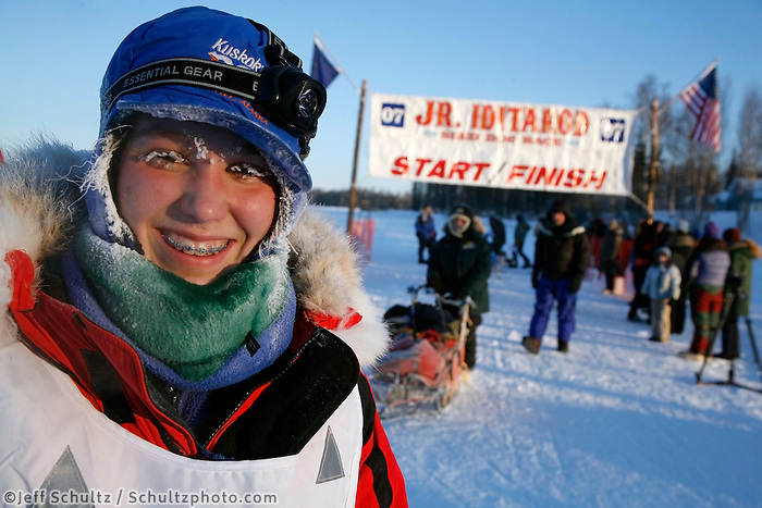 Sunday, February 25th, Willow, Alaska.  Jr. Iditarod musher Jessica Klejka is frosted up after crossng the finish line in 3rd  place