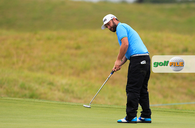 Andy Sullivan (ENG) on the 12th green during Round 3 of the HNA Open De France  at The Golf National on Saturday 1st July 2017.<br /> Photo: Golffile / Thos Caffrey.<br /> <br /> All photo usage must carry mandatory copyright credit      (&copy; Golffile | Thos Caffrey)