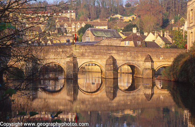 A1X0X3 Bridge reflection Bradford on Avon Wiltshire England