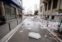 Pictured: Thick ice falls on a road in central Salonika, Greece. Monday 09 January 2017<br />Re: Severe cold weather affects Salonica in northern Greece
