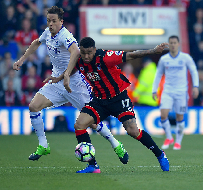 Bournemouth's Joshua King (R) battles with Chelsea's Nemanja Matic (L)<br /> <br /> Bournemouth 1 - Chelsea 3<br /> <br /> Photographer David Horton/CameraSport<br /> <br /> The Premier League - Bournemouth v Chelsea - Saturday 8th April 2017 - Vitality Stadium - Bournemouth<br /> <br /> World Copyright &copy; 2017 CameraSport. All rights reserved. 43 Linden Ave. Countesthorpe. Leicester. England. LE8 5PG - Tel: +44 (0) 116 277 4147 - admin@camerasport.com - www.camerasport.com
