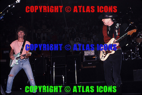 Stevie Ray Vaughan & Jeff Beck : Live: New York City: On November 1, 1989:.Photo Credit: Eddie Malluk/Atlas Icons.com