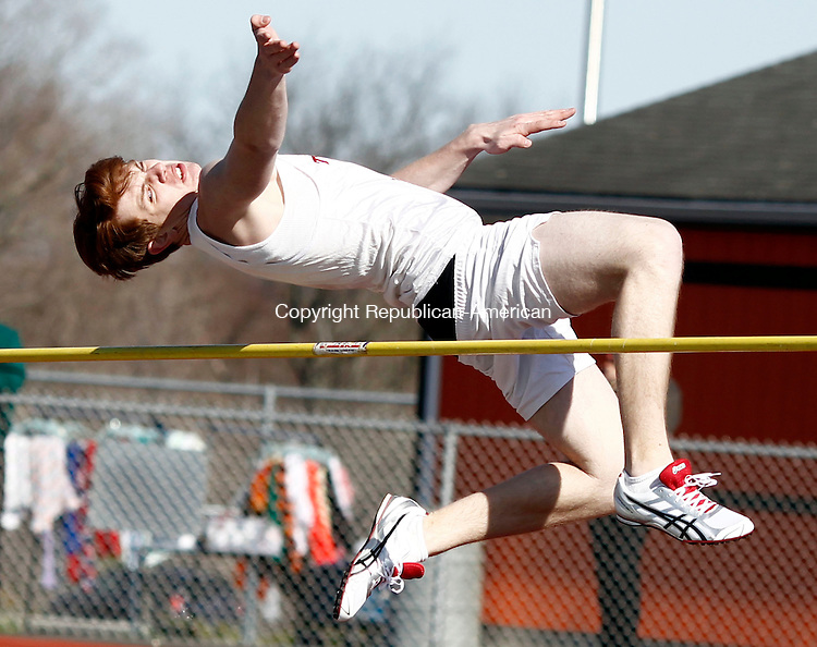 Watertown, CT- 15 April 2014-041614CM07-  Torrington's Gabe Koch competes in the high jump during a track and field meet at Watertown High School on Wednesday. Watertown hosted Naugatuck, Torrington and Derby.    Christopher Massa Republican-American