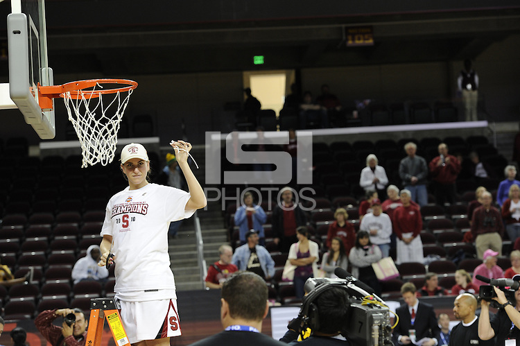 March 14, 2010. Jeanette Pohlen cuts down the net after the Stanford Cardinal beat the UCLA Bruins to win the 2010 Pac-10 Tournament.