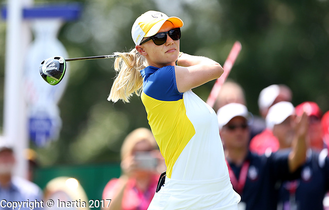 DES MOINES, IA - AUGUST 18: Europe's Jodi Ewart Shadoff hits her tee shot on the 1st hole during her afternoon match at the 2017 Solheim Cup in Des Moines, IA. (Photo by Dave Eggen/Inertia)