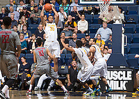 Richard Solomon rebounds the ball during a game  against Washington State at Haas Pavilion in Berkeley, California on January 5th, 2014. California defeated Washington State 76 - 55
