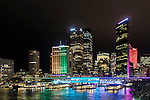 Illuminated city buildings in Circular Quay during the 2016 Vivid Light Festival