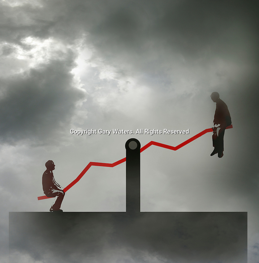 Two businessmen at opposite ends of seesaw graph