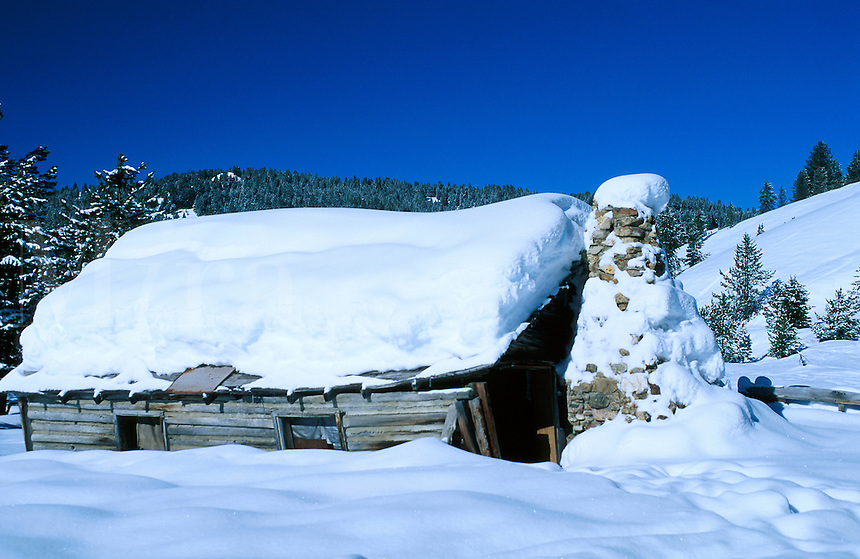 The exterior of an old Settler?s cabin in winter. Montana