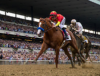 ELMONT, NY - JUNE 09: - Justify #1 with Mike Smith aboard defeats Gronkowski #6 Jose Ortiz to win the 150th Belmont Stakes, becoming the 13 Triple Crown champion at Belmont Park on June 09, 2018 in Elmont, New York. (Photo by Alex Evers/Eclipse Sportswire/Getty Images)