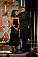 Kerry Washington and Garrett Hedlund on stage at the 75th Annual Golden Globe Awards at the Beverly Hilton in Beverly Hills, CA on Sunday, January 7, 2018.<br /> *Editorial Use Only*<br /> CAP/PLF/HFPA<br /> &copy;HFPA/PLF/Capital Pictures