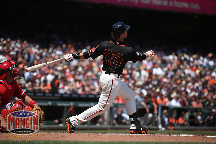 SAN FRANCISCO, CA - MAY 2:  Buster Posey #28 of the San Francisco Giants bats against the Los Angeles Angels during the game at AT&T Park on Saturday, May 2, 2015 in San Francisco, California. Photo by Brad Mangin