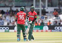 Liton Das (Bangladesh) congratulates Shakib Al Hasan (Bangladesh) on his half century during Pakistan vs Bangladesh, ICC World Cup Cricket at Lord's Cricket Ground on 5th July 2019