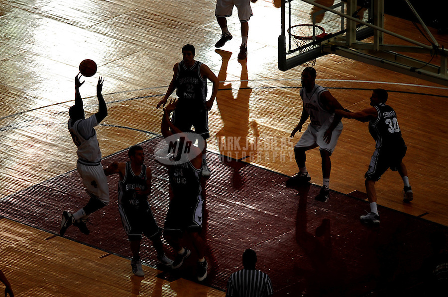 Dec. 20, 2008; Glendale, AZ, USA; Arizona State Sun Devils guard (13) James Harden shoots a shot in the first half against the Brigham Young Cougars during the Stadium Shootout at University of Phoenix Stadium. Arizona State defeated Brigham Young 76-75. Mandatory Credit: Mark J. Rebilas-