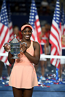 FLUSHING NY- SEPTEMBER 09: ***NO NY DAILIES*** Sloane Stephens celebrates with her trophy after defeating Keys to be the 2017 Us Open women's Champion. Stephens defeats Keys in straight sets 6-3, 6-0 during the Womens finals on Arthur Ashe Stadium at the US Open in the USTA Billie Jean King National Tennis Center on September 9, 2017 in Flushing Queens. <br /> CAP/MPI04<br /> &copy;MPI04/Capital Pictures