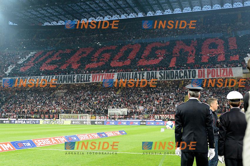Coreografia tifosi Milan<br /> Milano 04-05-2014 Stadio Giuseppe Meazza - Football 2013/2014 Serie A. Milan - Inter Foto Giuseppe Celeste / Insidefoto