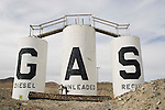 Abandoned gas tanks along I-80 at US 95 in the Humboldt Sink, Nev.