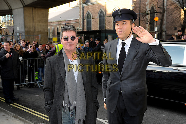 LONDON, ENGLAND - FEBRUARY 11: Simon Cowell and David Walliams attends Britain's Got Talent London Auditions in Hammersmith on February 11, 2014 in London, England. <br /> CAP/CJ<br /> &copy;Chris Joseph/Capital Pictures