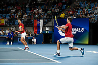 12th January 2020; Sydney Olympic Park Tennis Centre, Sydney, New South Wales, Australia; ATP Cup Australia, Sydney, Day 10; Serbia versus Spain; Viktor Troicki of Serbia hits a forehand as Novak Djokovic of Serbia watches on in their doubles rubber against Team Spain - Editorial Use
