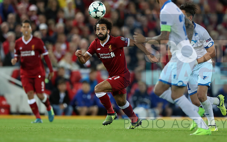 Mohamed Salah of Liverpool during the Champions League playoff round at the Anfield Stadium, Liverpool. Picture date 23rd August 2017. Picture credit should read: Lynne Cameron/Sportimage