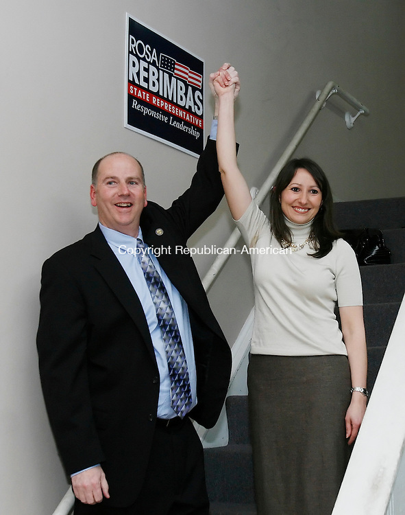 NAUGATUCK, CT, 03/02/09- 030209BZ06- Rep. David K. Labriola, R-Naugatuck, left, celebrates with Rosa Rebimbas, R- representative-elect 70th District, after she defeated Kevin McSherry in a special election for the vacant seat Monday. <br /> Jamison C. Bazinet Republican-American