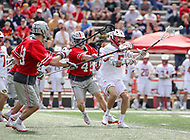 College Park, MD - April 22, 2018: Maryland Terrapins Will Snider (5) makes a pass during game between Ohio St. and Maryland at  Capital One Field at Maryland Stadium in College Park, MD.  (Photo by Elliott Brown/Media Images International)