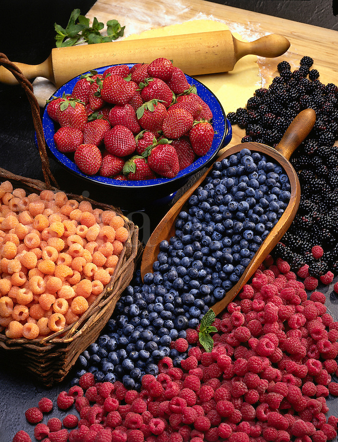 Strawberries, blackberries, raspberries, blueberries.