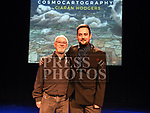 Ciarán Hodgers with his dad Gerry at the launch of his book Cosmocartography in The Droichead Arts Centre. Photo:Colin Bell/pressphotos.ie
