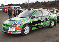 Bruce McCombie - Michael Coutts in a Mitsubishi Evolution at the Noise Test which took place at the Tulloch Stadium, Inverness for the 2014 Arnold Clark/Thistle Hotel Snowman Rally supported by Highland Office Equipment, part of the Capital Document Solutions which was organised by Highland Car Club and based in Inverness on 22.2.14; Round 1 of the 2014 RAC MSA Scottish Rally Championship sponsored by ARR Craib Transport Limited.