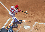 9 July 2017: Washington Nationals catcher Matt Wieters connects at bat against the Atlanta Braves at Nationals Park in Washington, DC. The Nationals defeated the Atlanta Braves to split their 4-game series going into the All-Star break. Mandatory Credit: Ed Wolfstein Photo *** RAW (NEF) Image File Available ***