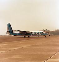 April 1986. Vliegtuig DAT op luchthaven Deurne.
