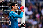 Goalkeeper Thibaut Courtois of Real Madrid drinks water during the La Liga 2018-19 match between Real Madrid and Real Valladolid at Estadio Santiago Bernabeu on November 03 2018 in Madrid, Spain. Photo by Diego Souto / Power Sport Images