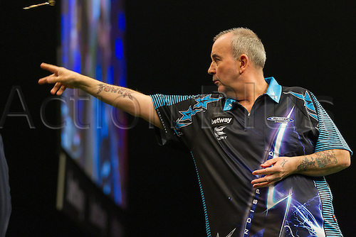 31.03.2016. The Motorpoint Arena, Cardiff.  Betway PDC Premier League Darts Judgement Night. Phil Taylor in action tonight