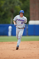JJ Schwarz (22) of the Florida Gators rounds the bases after hitting a home run against the Wake Forest Demon Deacons in the completion of Game Two of the Gainesville Super Regional of the 2017 College World Series at Alfred McKethan Stadium at Perry Field on June 12, 2017 in Gainesville, Florida. The Demon Deacons walked off the Gators 8-6 in 11 innings. (Brian Westerholt/Four Seam Images)