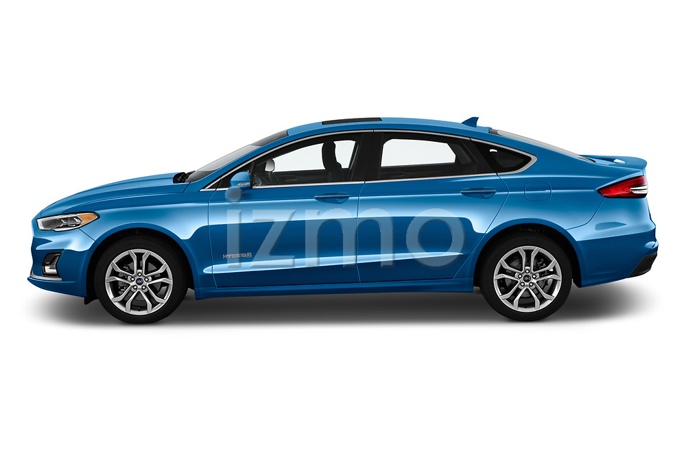 Car driver side profile view of a 2019 Ford Fusion-Hybrid Titanium  4 Door Sedan