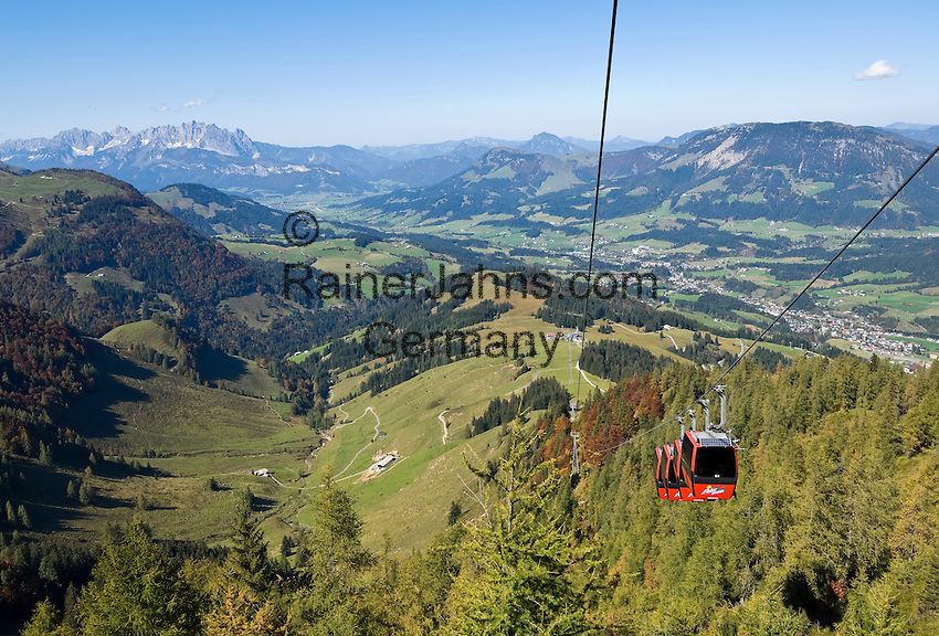 Austria, Tyrol, Fieberbrunn: view from cable car towards Fieberbrunn, background left Kaiser mountain range