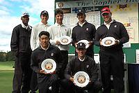 17 September 2006: Sam Puryear, Joseph Bramlett, Zack Miller, Jordan Cox, Conrad Ray, Daniel Lim and Rob Grube hold their trophies after the Gopher Invitational in Minneapolis, MN.