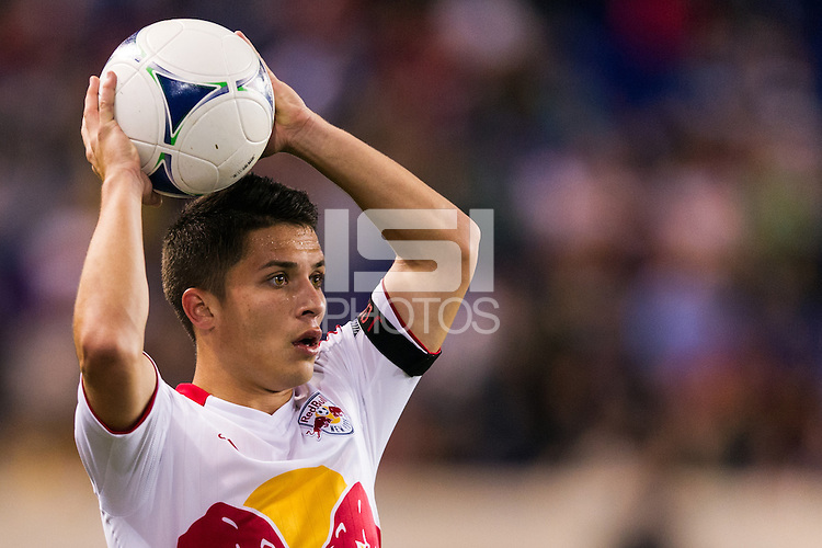 Connor Lade (16) of the New York Red Bulls. The New York Red Bulls and Sporting Kansas City played to a 0-0 tie during a Major League Soccer (MLS) match at Red Bull Arena in Harrison, NJ, on October 20, 2012.