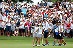 DES MOINES, IA - AUGUST 19: USA's Paula Creamer and Austin Ernst embrace after winning their match 5&3 Saturday at the 2017 Solheim Cup in Des Moines, IA. (Photo by Dave Eggen/Inertia)