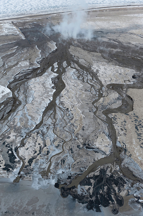 Tar Sands, March 2010. Syncrude tailings pond. Alberta Athabasca Tar Sands or Oil Sands.