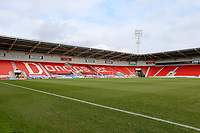 General View of the Keepmoat Stadium, Doncaster Rovers prior to kick off in the Sky Bet League 1 match between Doncaster Rovers and Fleetwood Town at the Keepmoat Stadium, Doncaster, England on 17 February 2018. Photo by Leila Coker / PRiME Media Images.