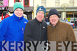 Alan and Dermot O'Connor with Martin Hayes, enjoying  the action from the final stage of Ras Mumhan in Killorglin on Monday.