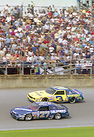 Rusty Wallace 27 Dale Earnhardt 3 action Daytona 500 at Daytona International Speedway in Daytona Beach, FL in February 1986. (Photo by Brian Cleary/www.bcpix.com) Daytona 500, Daytona International Speedway, Daytona Beach, FL, February 16, 1986.  (Photo by Brian Cleary/www.bcpix.com)
