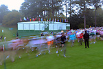 AUGUSTA, GA - APRIL 11: A general view of fans walking by the leader board during the First Round of the 2013 Masters Golf Tournament at Augusta National Golf Club on April 10in Augusta, Georgia. (Photo by Donald Miralle) *** Local Caption ***