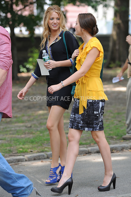 WWW.ACEPIXS.COM . . . . . .July 27 2009, New York City....Actresses  Blake Lively and Leighton Meester on the set of Gossip Girl July 27, 2009 in New York City....Please byline: KRISTIN CALLAHAN - ACEPIXS.COM.. . . . . . ..Ace Pictures, Inc: ..tel: (212) 243 8787 or (646) 769 0430..e-mail: info@acepixs.com..web: http://www.acepixs.com .