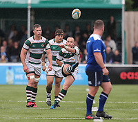 Shane O'Leary of Ealing Trailfinders kick during the British & Irish Cup Final match between Ealing Trailfinders and Leinster Rugby at Castle Bar, West Ealing, England  on 12 May 2018. Photo by David Horn / PRiME Media Images.
