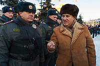 Moscow, Russia, 15/12/2012..A man tries to argue with police in Lubyanka Square at an unauthorised opposition rally to mark a year of protests against Vladimir Putin.