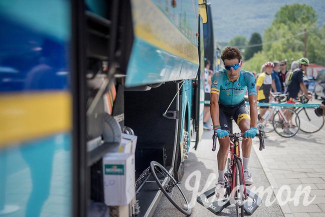 Fabio Aru (ITA/Astana) warming down after the stage<br /> <br /> Stage 6: Le parc des oiseaux/Villars-Les-Dombes &rsaquo; La Motte-Servolex (147km)<br /> 69th Crit&eacute;rium du Dauphin&eacute; 2017